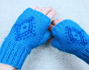 Anna's Fingerless Gloves, blue snowflake embroidered fingerless gloves inspired by Disney's Frozen princess Anna, light mittens for costume