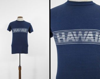 Vintage 80s Hawaii T-shirt Distressed Paper Thin Faded 5050 Blue Tee - Medium