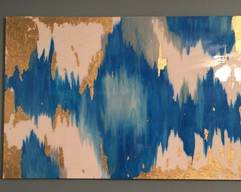 SOLD!!  Original acrylic abstract painting with blues, greys, and gold leafing with an epoxy resin gloss coat