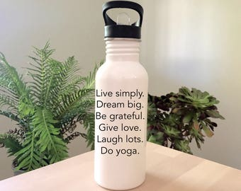 yoga water bottle custom water bottle yoga gifts gift for yoga lover gift for yogi personalised water bottle, drink bottle, yoga gear