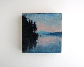 Adirondack Lake Sunset Painting - 6 x 6