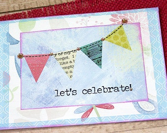 """Let's Celebrate! Sparkling Banner Greeting Card, Birthday, Congratulations, Engagement, Promotion, Graduation, Anniversary - 5.5"""" x 5"""""""