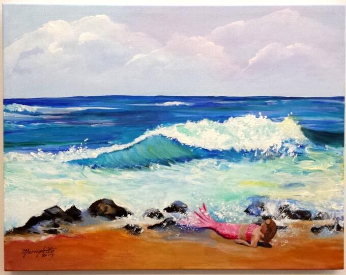 Be a Mermaid Original Acrylic Painting from Kauai Hawaii by Artist Marionette Taboniar