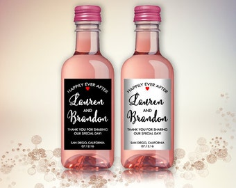 Party Favor Mini Wine Bottle Labels, Customized - Wedding, Engagement - Black and White, Mini Wine Labels - DIY Print, Printable PDF