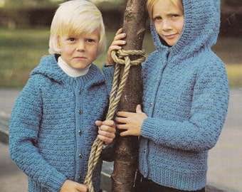 Vintage knitting pattern child's hooded hoodie cardigan sizes pdf INSTANT download  pattern only pdf 1970s