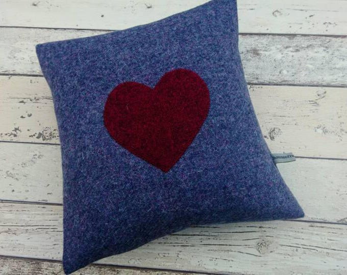 Hand Crafted Harris Tweed purple heart cushion cover