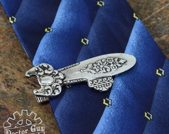 Airship Tie Clip - Inspired by Antique Victorian Silverware - Steampunk Tie Bar - Handcrafted Men's Suit and Tie Accessories Doctor Gus