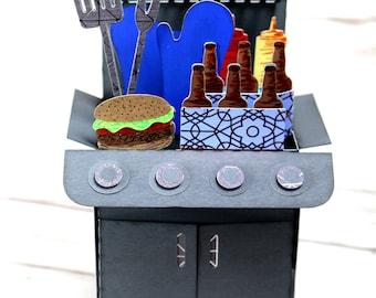 Bar B Que, Grill, BBQ, Pop Up Greeting Card, Dad, Pop, Papa, Birthday