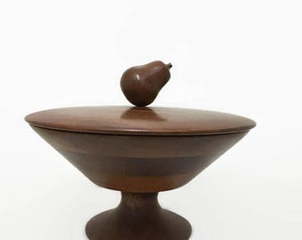 Wooden Pedestal Bowl with Lid, Solid American Walnut