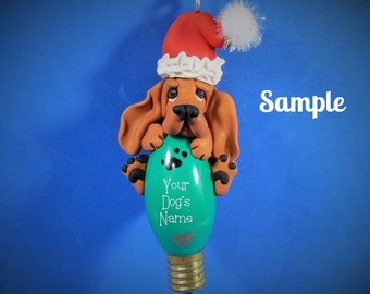 Red Bloodhound Santa dog Christmas Holidays Light Bulb Ornament Sally's Bits of Clay PERSONALIZED FREE with dog's name