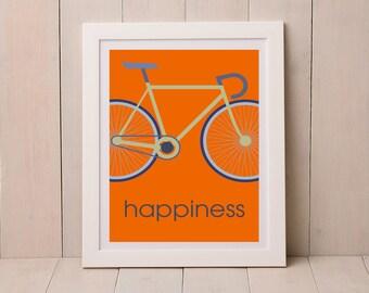 Road Bike Print, Print for Cyclist, Graphic Print, Gift for Cyclist, Cycling Print,