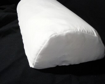 "Lumbar half moon pillow cover, half cylinder cushion cover, white cotton pillow case, specialty pillow slip, 18""x8x4"" custom, organic cotton"