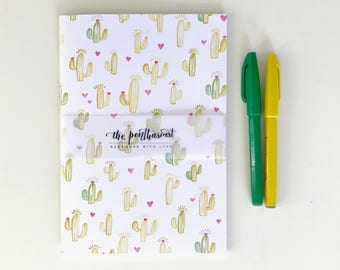 Succulent Love: A5 and A6 Size Sketchbook and Notebook, Handmade Sketchbook, Journal, Gifts For Stationery Addicts, Blank Lined Notebook