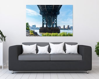 Manhattan Bridge Sunny Day Photo Print | Wall Art | Nature and Landscape Photography | (5x7, 8x10, 10x15, 12x18, 16x24, 20x30, 24x36)