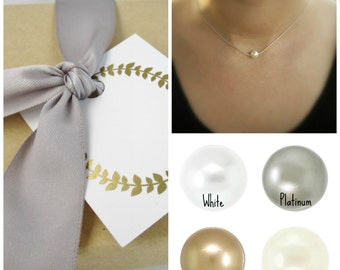 Bridesmaid necklace Set of 5 Solitaire pearl necklace Dainty thin sterling silver chain Custom color Swarovski Crystal pearl Wedding jewelry