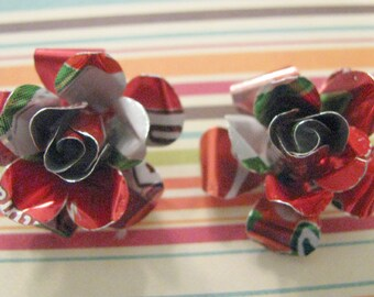 CHERRY 7 UP EARRINGS - Upcycled Aluminum Soda Can Jewelry , Recycled, Repurposed - Lovely Gift Idea, Stocking Stuffer