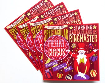 4 Pack Christmas Cards, Merry Circus, Cute Holiday Cards, Unique Christmas Cards, Christmas Card Set, Christmas Card Pack, Illustrated Cards