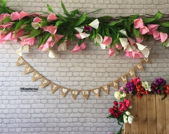Custom Birthday Banner Name Photobooth Banner Burlap Hessian Banner,36 colours ,Photo booth, Birthday Decor, Happy 20th 30 40 50 60 Any Age