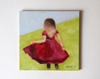 Little girl with a red dress, original oil painting, figurative painting, Christmas gift