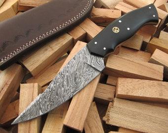 "9""Superior Quality Custom Hand Forged Damascus Steel Hunting / Skinning / Camping / EDC Knife Black Micarta Handle SQ-07"