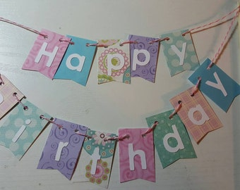 "Cake Bunting,""Whimsical"", Happy Birthday, Cake Topper, Paper banner"