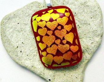 Fused Dichroic Glass Pendant -  Gold Hearts Pendant