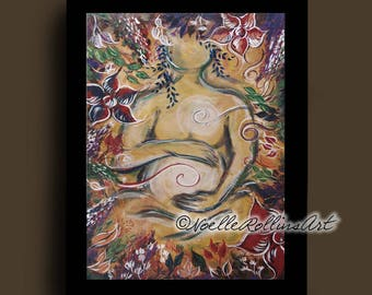 Pregnant woman wall art Sacred Garden - International shipping Pregnancy small matted artwork print for baby shower maternity doula midwife