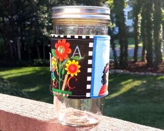 FREE SHIPPING UPGRADE with minimum -  Mason Jar cozy / mason jar sleeve - School Days - Wide Mouth size