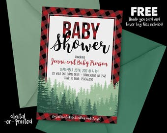 Rustic Baby Shower Invitation, Buffalo Plaid baby shower, Wilderness Invitation, Wild One, Forrest, Country Baby Shower