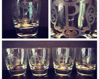 Monogram Initial Glass Set of 4 Great Housewarming Gift!