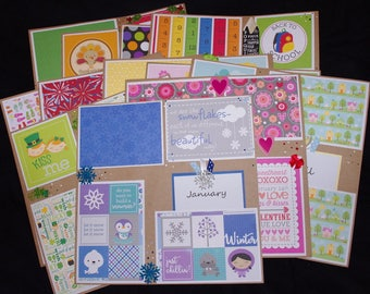 All through the year 12~12x12 Premade Scrapbook Layouts