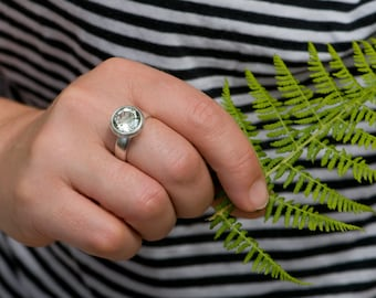 Green Amethyst Ring - Large Round Amethyst set in Sterling Silver - Green Gemstone Ring - Made to order - Free Shipping