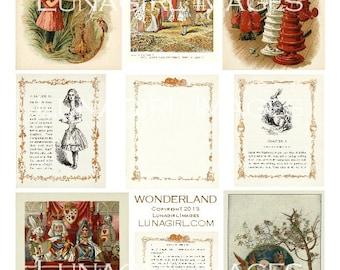 ALICE WONDERLAND digital collage sheet, Victorian vintage images illustrations fairy tale storybook fantasy altered art ephemera DOWNLOAD