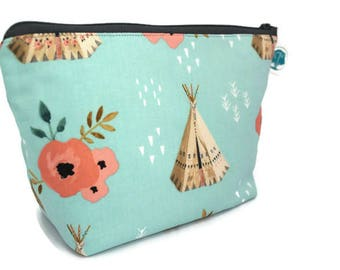 Large Cosmetic Bag - Makeup Bag - Accessory Bag - Make up Bag - Toiletry Bag - Gadget Bag -  Jewelry Pouch in Teepee Rose