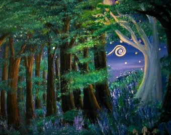 Starry Meadow at the End of the Forest print, image of original artwork