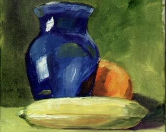 Blue Vase and Fruit (New Orleans, Louisiana Art)