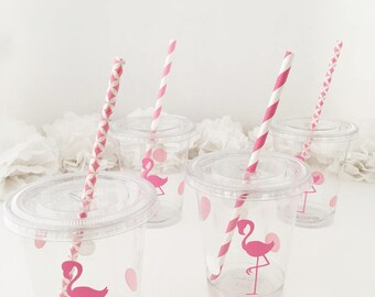 Flamingo Party Cups - Flamingo Bachelorette - Flamingo Birthday Favors - Tropical Party Cups - Lets Flamingle Treat Cups - Luau Summer Party