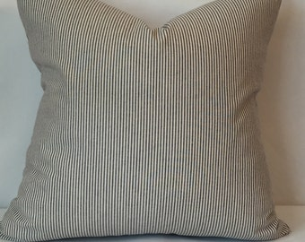 "Blue and cream striped pillow cover 20"" x 20"""