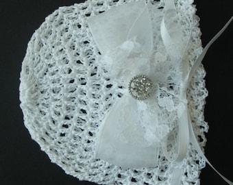 Crocheted Newborn Baby Girl Hat Baptismal Infant Bonnet Knit Baby Cap Christening Baby Hat Reborn Doll Hat Baby Photo Prop Baby Rose Hat