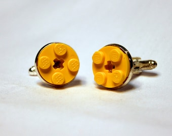 Round Yellow Lego Plate Cufflinks - Silver plated - Valentine's Day Gift - Groomsmen Gift, Wedding accessory