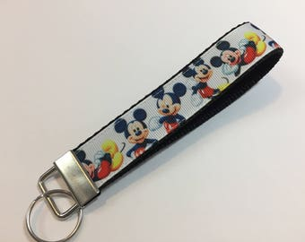 Mickey Mouse in Different Poses Key Fob Keychain wristlet