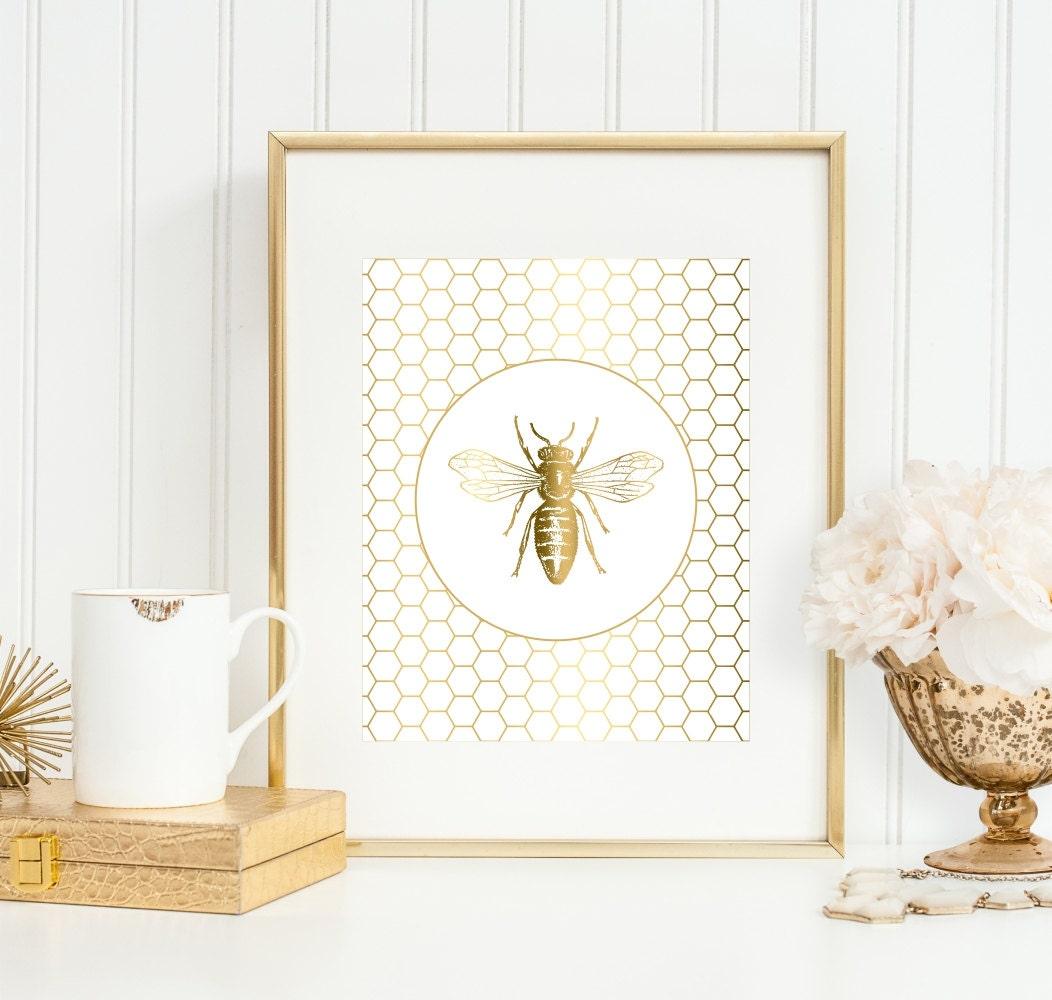 Bee Art Print Honeycomb Gold 5x7 8x10 11x14
