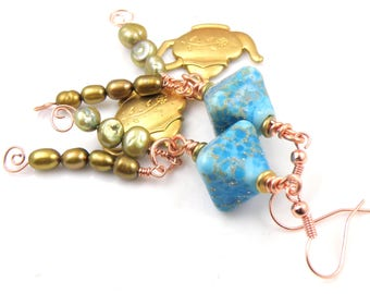 Tempest in the Teapot Lampwork Crystals Wire Wrapped Dangle Earrings Handmade Lampwork Beads Cute Pair of Handmade Beaded Earrings