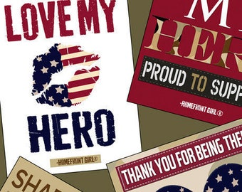 Love My Hero 1/4-Yard Fabric Bundle, 9 Pieces, Homefront Girl, Quilting Treasures, Quilt Fabric, Cotton, Quilts of Valor Suitable