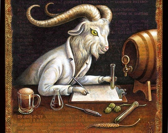 Craft beer art print, Zymology: Goat scientist analyzing home brew. Beer lover gift, man cave décor, alphabet letter Z, funny bar art