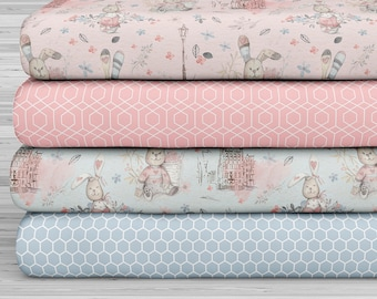 27x17 Felt Sheets - Cute Rabbit Collection - Pattern 1 - Pack of 4