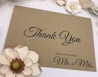 Wedding/Bridal Shower Thank You Notes/Envelopes Sets. White, Natural, and Brown Kraft Available.