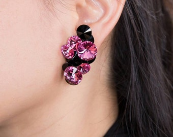Clip On Earrings, Ballroom Jewelry, Ballroom Competition, Swarovski Earrings, Pink Earrings, My Ballroom Boutique, Competition Jewelry