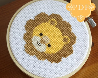 PDF Counted Cross Stitch - Lion / diy, how-to, embroidery, pattern, gift, fun, stitch, dmc, supplies, instruction, baby, nursery, cute