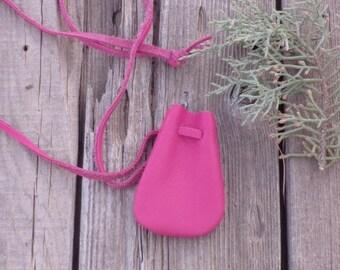 Pink leather crystal bag , Pink medicine bag , Pink leather neck pouch